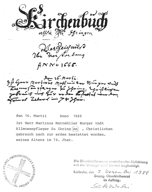 Kirechenbuch Eintrag Stammvater Martin Mattmüller